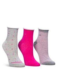 Calvin Klein | Pink Polka Dot And Stripe Anklet Sock Set - 3 Pair | Lyst