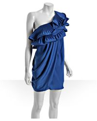BCBGMAXAZRIA - Larkspur Blue One Shoulder Pleated Ruffle Dress - Lyst
