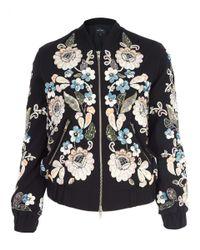Needle & Thread - Black Oriental Garden Embroidered Bomber Jacket - Lyst