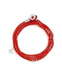 Isaia - Red 'saracino' Bead Wrap Bracelet for Men - Lyst