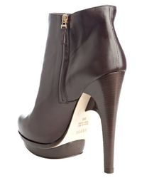 Fendi - Dark Brown Nappa Leather Platform Ankle Booties - Lyst
