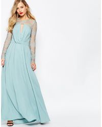 ASOS | Blue Kate Lace Maxi Dress With Long Sleeves - Navy | Lyst