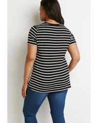 Forever 21   White Plus Size Contrast-trim Striped Tee   Lyst