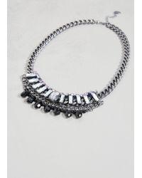 Violeta by Mango - Gray Rhinestone Chain Necklace - Lyst