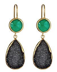 Margaret Elizabeth | 2 Stone Drop Earrings Green Onyx Black Druzy | Lyst