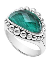 Lagos | Metallic Silver Maya Malachite East-West Dome Ring | Lyst