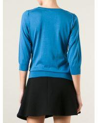 Dolce & Gabbana - Blue Three-Quarter Sleeve Top - Lyst
