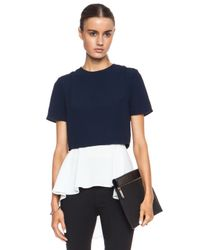 Alexander McQueen - Blue Cropped Rayonblend Tee with Undershirt - Lyst