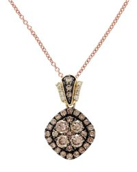 Effy | Yellow Gold Brown And White Diamond Pendant | Lyst