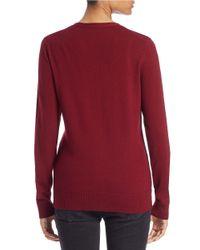 Lord & Taylor | Red Plus Merino Wool V-neck Cardigan | Lyst