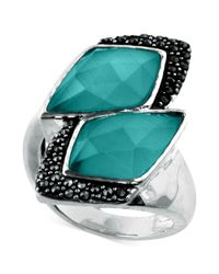 Judith Jack - Metallic Sterling Silver Mint Glass 925 Ct Tw And Marcasite 34 Ct Tw Cluster Ring - Lyst