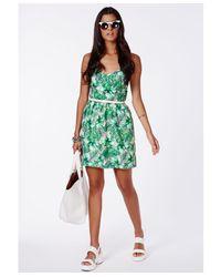 Missguided - Green Mauira Tropical Skater Dress - Lyst