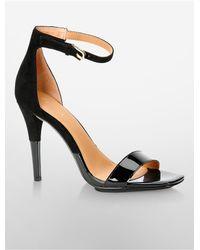 Calvin Klein | Black Shanti Patent + Suede Sandal | Lyst