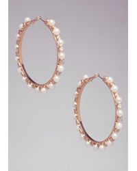 Bebe | Pink Pearl Station Hoop Earrings | Lyst