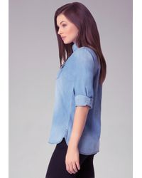 Bebe | Blue Washed Denim Shirt | Lyst