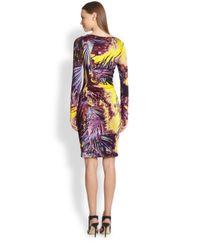Jean Paul Gaultier - Black Palm-Print Ruched Longsleeve Dress - Lyst