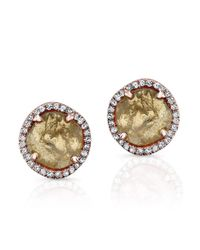 Anne Sisteron - Metallic 14kt Rose Gold Diamond Slice Stud Earrings - Lyst