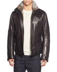 Andrew Marc | Black Marc New York By 'flycroft' Leather Moto Jacket With Genuine Rabbit Fur Lining for Men | Lyst