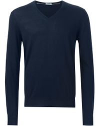 Paolo Pecora - Blue V-neck Sweater for Men - Lyst