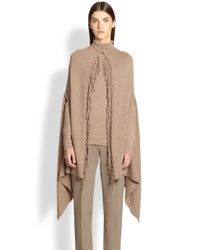 ESCADA - Brown Virgin Wool/Silk/Cashmere Fringe Cape - Lyst