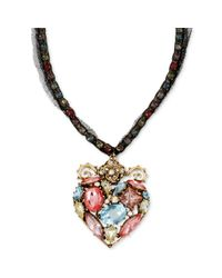Betsey Johnson | Metallic Goldtone Meshwrapped Multicrystal Heart Pendant Necklace | Lyst