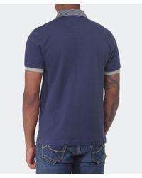 Hackett - Blue Slim Fit Striped Collar Polo Shirt for Men - Lyst