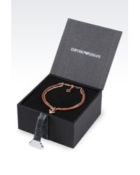 Emporio Armani - Pink Bracelet And Earrings In Rose Gold-plated Silver - Lyst