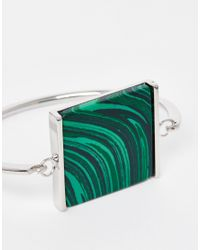 ASOS | Green Smooth Stone Hinge Bangle Bracelet | Lyst
