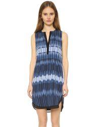 Vince | Blue Printed Tie Dye Dress | Lyst