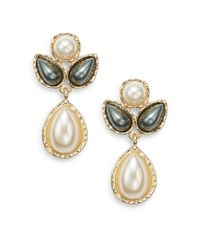 Ak Anne Klein | Metallic Faux Pearl Cluster Drop Earrings | Lyst