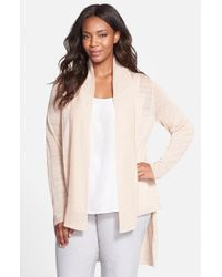 Eileen Fisher | Natural Shawl Collar Linen-Blend Cardigan | Lyst