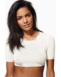 Nasty Gal | White Unif Liv Crop Sweater | Lyst