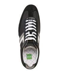 BOSS Green Black Sneakers 'spacito' In A Textile Mix With Leather for men