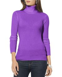 Lauren by Ralph Lauren | Purple Silk-cotton Turtleneck Sweater | Lyst