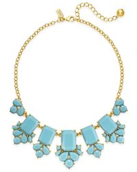 kate spade new york | Blue 12k Gold-plated Stone Frontal Necklace | Lyst