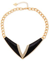 Guess | Gold-tone Black And Clear Crystal Necklace | Lyst