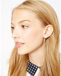 Orelia - Metallic Open Heart Stud Earrings - Lyst