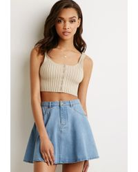Forever 21 | Natural Ribbed Knit Crop Top | Lyst