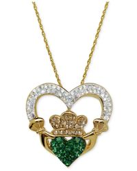 Macy's - Metallic Swarovski Crystal Claddagh Pendant Necklace In 18K Gold Over Sterling Silver - Lyst