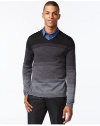 Calvin Klein - Gray Simple Ombré Stripe V-neck Sweater for Men - Lyst