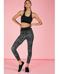 Missguided - Active Monochrome Print Gym Leggings Black - Lyst