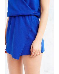 Kimchi Blue - Blue Drapey Surplice Skort Romper - Lyst
