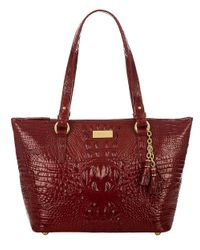 Brahmin | Brown Asher Croc Embossed Leather Tote Bag | Lyst