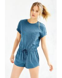 BDG - Blue Melinda Knit Drawstring Romper - Lyst