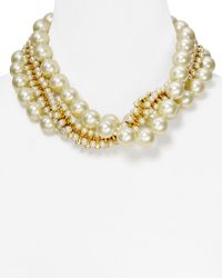 """Kenneth Jay Lane - White Triple Row Mixed Faux-Pearl Necklace, 18"""" - Lyst"""