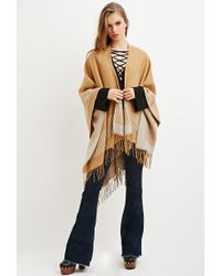 Forever 21 | Natural Houndstooth-patterned Shawl Poncho | Lyst