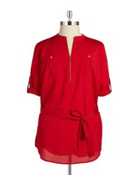 Calvin Klein | Red Plus Zip-front Crepe Tunic | Lyst
