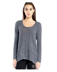 Michael Stars | Blue Chelsea Triblend Long Sleeve Hi Low Tee With Front Pocket | Lyst