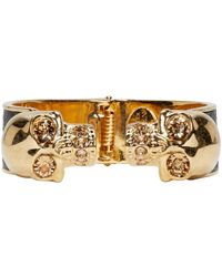 Alexander McQueen | Black And Gold Twin Skull Cuff | Lyst