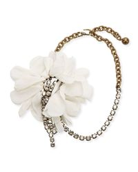 Lanvin | White Flower Chain & Crystal Choker Necklace | Lyst